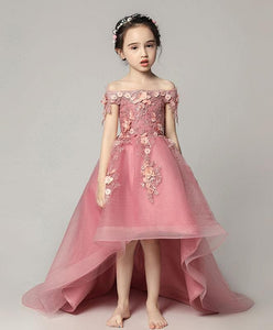 Pink Tulle Lace Flower Girl Dress, Cute Girls Dress - DelaFur Wholesale