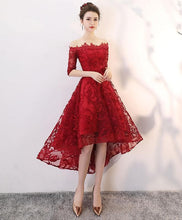 Load image into Gallery viewer, Burgundy Tulle Lace High Low Prom Dress - Harajuku Kawaii Fashion Anime Clothes Fashion Store - SpreePicky