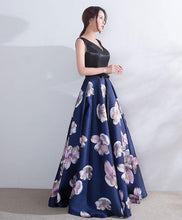 Load image into Gallery viewer, Dark Blue V Neck Satin Long Prom Dress, Dark Blue Evening Dress - DelaFur Wholesale