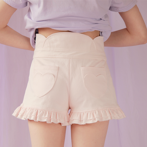 3 Colors Heart Shape Embroidery Agaric Lace Hot Shorts SP141154 - SpreePicky  - 3