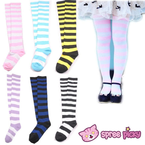 [6 Colors] Cosplay Basic Stripe Thigh High SP130180