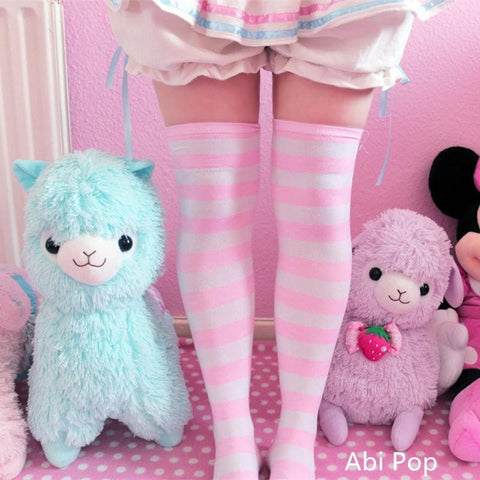 [6 Colors] Cosplay Basic Stripe Thigh High SP130180 - SpreePicky  - 3