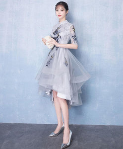 Cute Gray Tulle Lace Applique High Low Prom Dress, Gray Homecoming Dress - DelaFur Wholesale