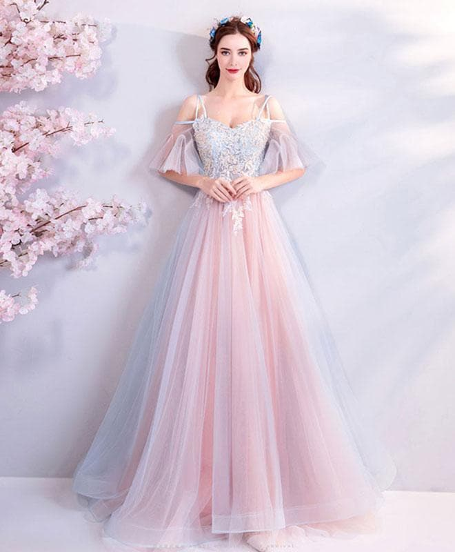 Pink Sweetheart Tulle Lace Applique Long Prom Dress, Pink Evening Dress - DelaFur Wholesale