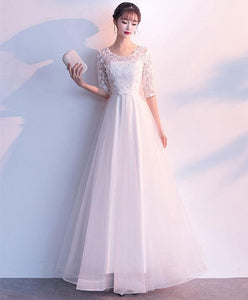 White Tulle Lace Long Prom Dress, White Tulle Lace Evening Dress - DelaFur Wholesale