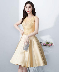 Cute Round Neck Lace Satin Short Prom Dress, Lace Homecoming Dress - DelaFur Wholesale