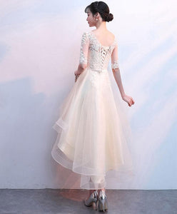 Champagne Tulle Lace Prom Dress, Champagne Homecoming Dress - DelaFur Wholesale