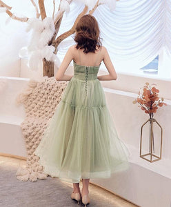 Simple Green Tulle Short Prom Dress Green Tulle Homecoming Dress - DelaFur Wholesale