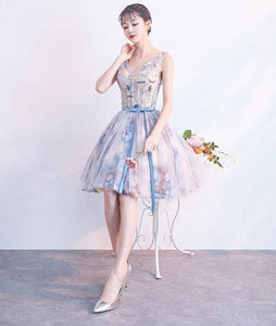 Unique V Neck Tulle Short Prom Dress, Tulle Homecoming Dress - DelaFur Wholesale