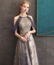 Load image into Gallery viewer, Gray Blue High Neck Tulle Lace Long Prom Dress Gray Tulle Formal Dress A037 - DelaFur Wholesale