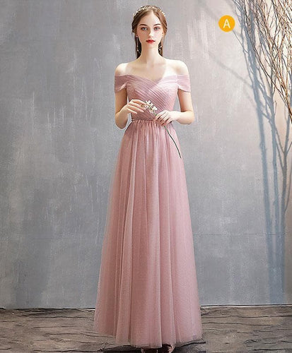 Simple Pink Tulle Long Prom Dress Pink Tulle Bridesmaid Dress A005 - DelaFur Wholesale