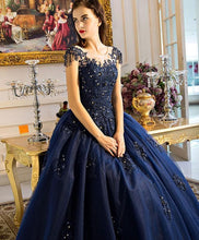 Load image into Gallery viewer, Unique Round Neck Dark Blue Tulle Lace Long Prom Dress, Evening Dress - DelaFur Wholesale