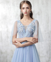 Load image into Gallery viewer, Blue V Neck Tulle Lace Applique Long Prom Dress, Blue Evening Dress - DelaFur Wholesale