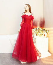 Load image into Gallery viewer, Red Tulle Long Prom Dress, Tulle Red Evening Dress - DelaFur Wholesale