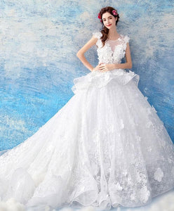 White Round Neck Lace Long Wedding Gown, Lace Wedding Dress - DelaFur Wholesale