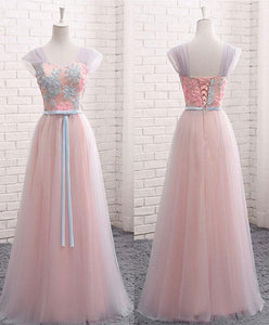 Pink A Line Sweet Neck Lace Tulle Long Prom Dress, Evening Dress - DelaFur Wholesale