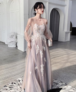 Champagne Round Neck Tulle Lace Long Prom Dress Tulle Lace Evening Dress - DelaFur Wholesale