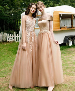 Champagne Tulle Lace Long Prom Dress Champagne Bridesmaid Dress - DelaFur Wholesale