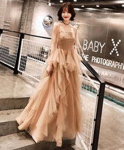 Load image into Gallery viewer, Champagne Tulle Long Prom Dress, Champagne Evening Dress - Harajuku Kawaii Fashion Anime Clothes Fashion Store - SpreePicky