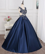Load image into Gallery viewer, Dark Blue Round Neck Lace Applique Long Prom Gown, Evening Dress - DelaFur Wholesale