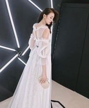 Load image into Gallery viewer, White Tulle Lace Long Prom Dress, White Lace Evening Dress - DelaFur Wholesale