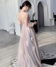 Load image into Gallery viewer, Champagne Round Neck Tulle Lace Long Prom Dress Tulle Lace Evening Dress - DelaFur Wholesale