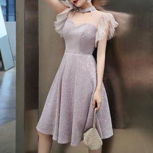 Pink Elegant Paillette Choker Party Dress SP14699