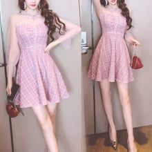 Load image into Gallery viewer, Pink Cute Mesh Stitching Plaid Retro Dress SP13363