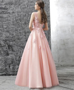 Pink Round Neck Tulle Lace Applique Long Prom Dress, Pink Evening Dress - DelaFur Wholesale