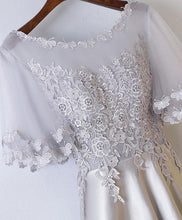 Load image into Gallery viewer, Champagne Round Neck Lace Applique Long Prom Dresses - Harajuku Kawaii Fashion Anime Clothes Fashion Store - SpreePicky