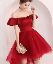 Load image into Gallery viewer, Cute Burgundy Tulle Off Shoulder Short Prom Dress, Burgundy Homecoming Dress - DelaFur Wholesale