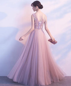 Cute V Neck Light Pink Tulle Lace Long Prom Dress, Tulle Long Evening Dress - DelaFur Wholesale