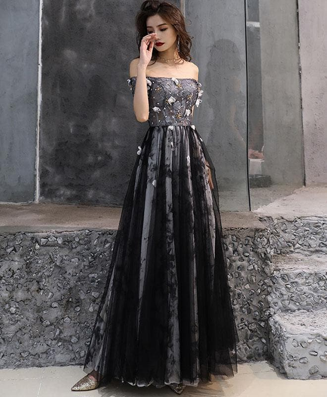 Black Tulle Lace Long Prom Dress, Black Tulle Evening Dress - DelaFur Wholesale