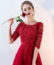 Load image into Gallery viewer, Burgundy Lace Tulle Long Prom Dress, Burgundy Tulle Evening Dress - Harajuku Kawaii Fashion Anime Clothes Fashion Store - SpreePicky
