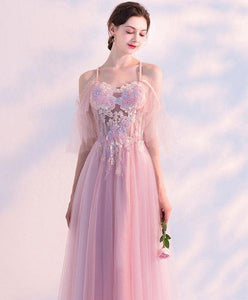 Pink Sweetheart Tulle Lace Long Prom Dress, Pink Tulle Evening Dress - DelaFur Wholesale