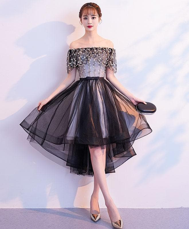 Black Tulle Lace Short Prom Dress, Black Tulle Homecoming Dress - DelaFur Wholesale