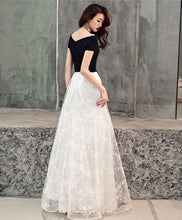 Load image into Gallery viewer, White Lace Tulle Long Prom Dress, White Lace Evening Dress - DelaFur Wholesale