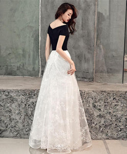 White Lace Tulle Long Prom Dress, White Lace Evening Dress - DelaFur Wholesale