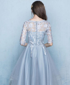 Gray Tulle Lace Applique Prom Dress, Gray Evening Dress - DelaFur Wholesale