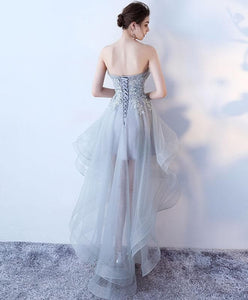 Gray Tulle Lace High Low Prom Dress, Cute Homecoming Dress - DelaFur Wholesale