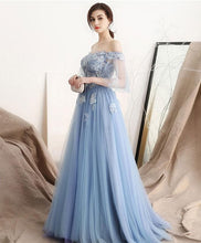 Load image into Gallery viewer, Unique Blue Off Shoulder Tulle Long Prom Dress, Blue Evening Dress - DelaFur Wholesale