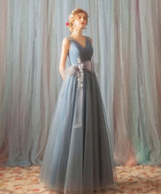 Load image into Gallery viewer, Blue V Neck Tulle Long Prom Dress, Blue Tulle Formal Dress - DelaFur Wholesale