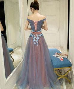 Gray Blue Tulle Off Shoulder Long Prom Dress, Gray Blue Evening Dress A025 - DelaFur Wholesale