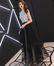 Load image into Gallery viewer, Black Sequin Tulle Long Prom Dress, Black Tulle Evening Dress - DelaFur Wholesale