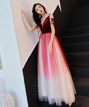 Load image into Gallery viewer, Simple V Neck Tulle Burgundy Long Prom Dress, Burgundy Evening Dress - DelaFur Wholesale