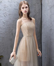 Load image into Gallery viewer, Champagne Tulle High Low Prom Dress, Champagne Evening Dress - DelaFur Wholesale