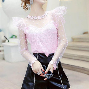 4 Colors Fairy Spot Lace Shirt SP13504