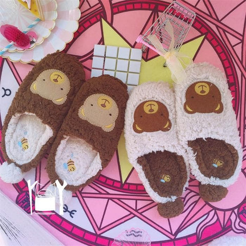 4 Colors Harajuku Fluffy Bunny/Bear Slippers SP1711329