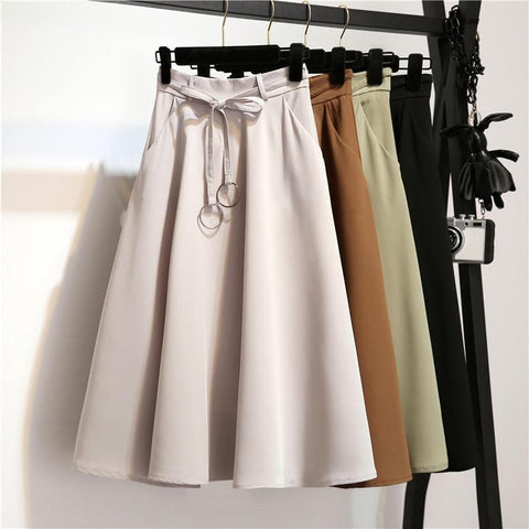 4 Colors Hight Waist Ring Tie Midi Skirt SP1710787