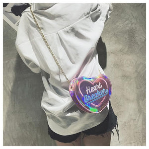 4 Colors Hologram Heart Breaken Cross Body Bag SP14136